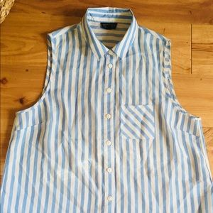 Topshop Top Shop Blue Striped Sleeveless Top 8